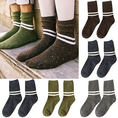 1 Pair Men's Women's Wool Cashmere Thick Warm Striped Casual Sports Socks Tops