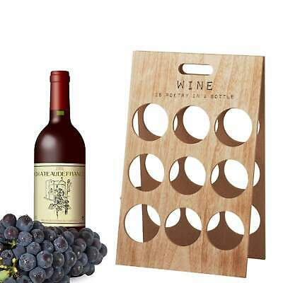 Rustic Wooden Wine Rack - 9 Wine Bottle Holder