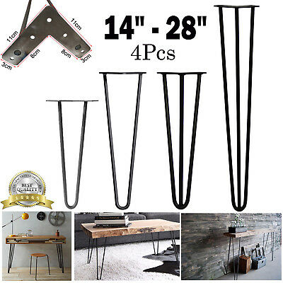 """Premium Hairpin Table Legs 14""""-28"""" Inch Height, Style & Colours 2/3 rods 10mm 4x"""