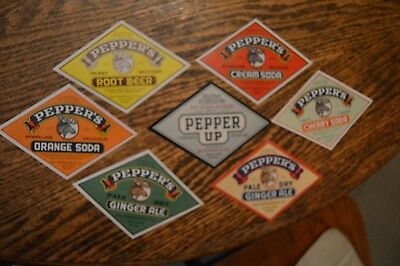 7 different unused Pepper's soda pop labels, Root Beer, Ginger Ale, Pepper Up, +