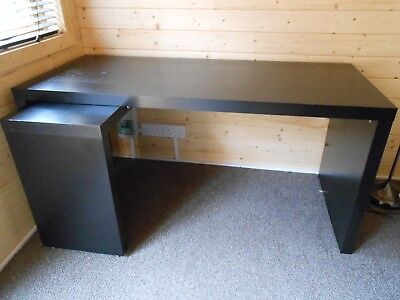 Ikea Malm Desk With Pull Out Panel Black Brown 151x65cm 999