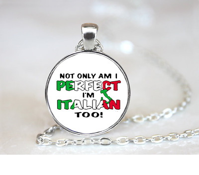 Perfect Italian Too PENDANT NECKLACE Chain Glass Tibet Silver Jewellery