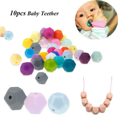 10pcs/lot 14mm Baby Teether BPA-Free Silicone Mom DIY Necklace Chew Beads