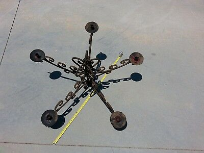 "Spanish Revival Wrought Iron 48"" Candle Chandelier"