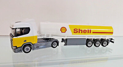 "Herpa 307611 - 1:87 -  Scania CR 20 ND Benzintank-Sattelzug ""Shell"" - NEU in OVP"