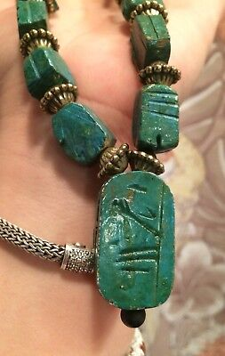VINTAGE Scarab Beetle Necklace Green Carved Beads EGYPTIAN REVIVAL CHUNKY