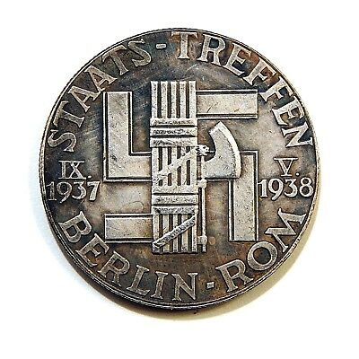 Exonumia Medal - Coin 1938 / Iii-Reich / Hitler - Mussolini / Germany / Ww-Ii