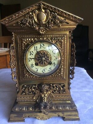 S MARTI French Antique  Bronze Ormolu Mounts Bracket Cube Mantel Clock