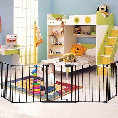 Fireplace Baby Safety Fence Hearth Gate Pet Cat Dog BBQ Metal Fire Gate