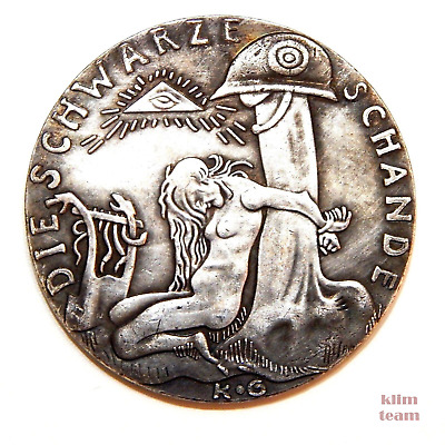 """German Medal """"guards On The Rhine"""" 1920 / Germany / Ww I / Large Silvered Token"""