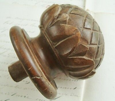 Antique French Architectural Wood Staircase Newel Post Finial Carved Pine Cone