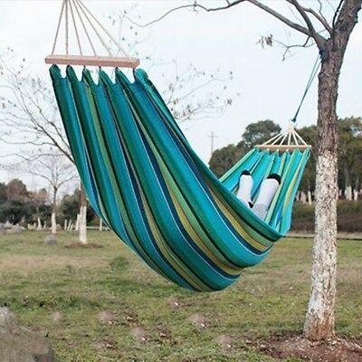 UK Portable Garden Outdoor Camping Travel Canvas Stripe Hammock Carry Pouch