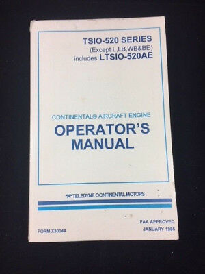 Continental IO-520 Aircraft Engine Operators Manual X30041