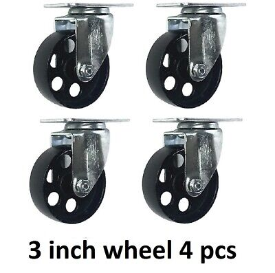 "4 pack 3"" Steel Swivel Plate Caster Wheels with Brake Lock Heavy Duty 1540Lbs"