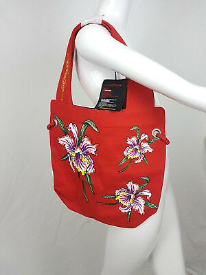 dfa5177edc7f Ed Hardy By Christian Audigier Nia Tote Bag Red Orchids Purse Tattoo  Expandable