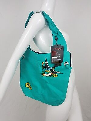 6676f3de8f69 Ed Hardy By Christian Audigier Nia Tote Bag Teal Sparrow Purse Tattoo  Expandable