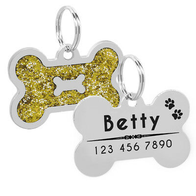 Personalized Dog Tags Engraved Puppy Pet ID Name Collar Tag Bone Glitter Gold