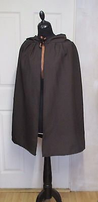 Short Brown Hooded Cloak/cape Medieval Jedi Viking Fancy Dress Made In Uk