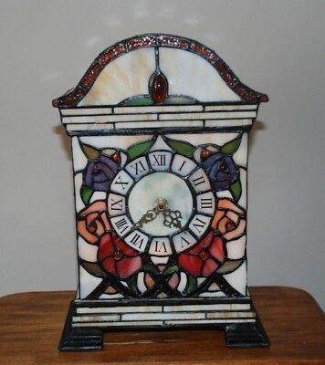 Tiffany Style Stained Gl Light Up Fl Mantel Clock