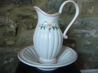 Jug and Bowl Set with Decorative Floral Pattern. Beautiful. Perfect Condition.