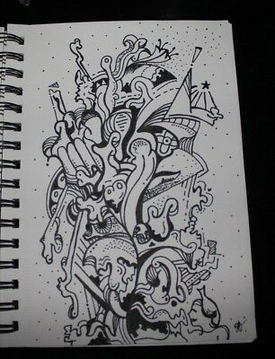 ORIGINAL Abstract Trippy Art Drawing - RT