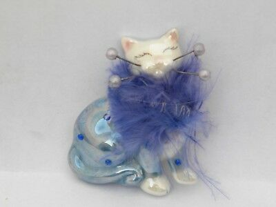 """WhimsiClay """"Glamour Puss Lucie"""" Cat Pin-free shipping+helps animals"""