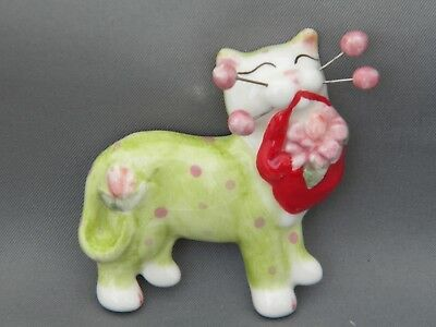 """WhimsiClay """"Dahlia"""" Floral Cat Pin-free shipping+helps animals"""