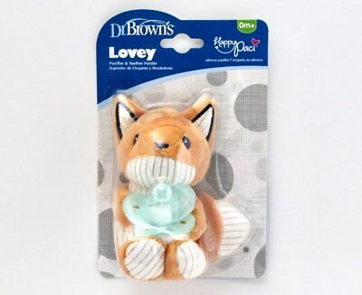 NEW Dr Brown's Franny the Fox Lovey Pacifier & Teether Holder Plush Baby Toy