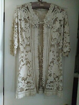 VICTORIAN Battenburg Cream Lace Duster, Early 20th Century