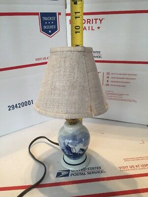 Mini Blue Delft Windmill Table Lamp with Switch and Lamp Shade Made in Holland