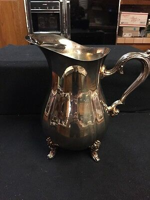 Vintage Oneida USA Silver Footed Water Pitcher Jug With Ice Catcher & Heavy