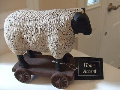 """Lamb/Sheep Statue on a Wagon w/ Stationary Wheels, 8.5""""WX6.5""""T """"Country Decor"""""""