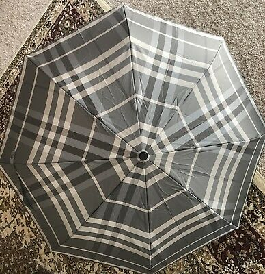 New Burberry  Check Folding Umbrella Gray Plaid With Case Auto Open