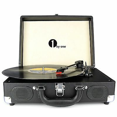 Briefcase Style 3 Speed Stereo RCA Output Vinyl Turntable Built in Speaker Retro