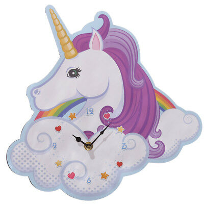 Childrens Fantasy Mystical Unicorn Clock Rainbow Design Decorative Wall Picture