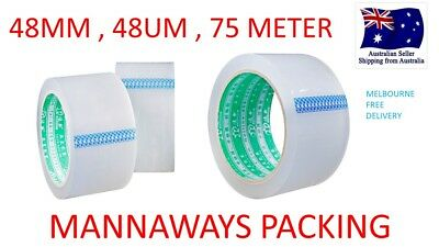 36x Sticky Packing Packaging Tape - 48 Micron Clear 75 Meter x 48mm - 48U