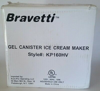 New! Bravetti Gel Canister Ice Cream Maker: Model KP160HV   1.5 Qt.