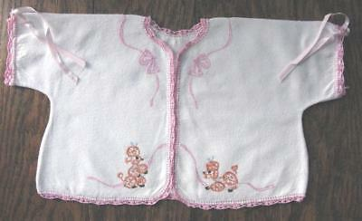 True Vtg Baby Hand Embroidered Poodles White Flannel Pink Crochet Jacket Kimono