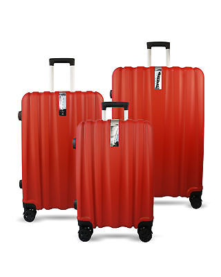 3pc Luggage Suitcase Trolley Set TSA Travel Hard Case Lightweight Bright Red