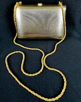 Vintage BONWIT TELLER Gold Tone Hard Shell Evening Bag Chain Made in Italy