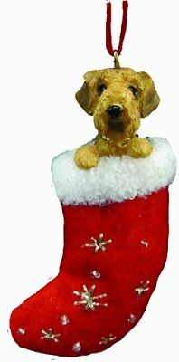 """Airedale Terrier Stocking Ornament w """"Santa's Little Pals"""" Hand Painted"""