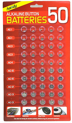 50  Assorted Alkaline Button Cell Watch Camera Key Fob Battery Ag 1 3 4 10 12 13
