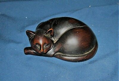 """Heavy Stone ? Or Resin Cat Lying Down Sleeping Figure /  Paper Weight """"as Is"""""""
