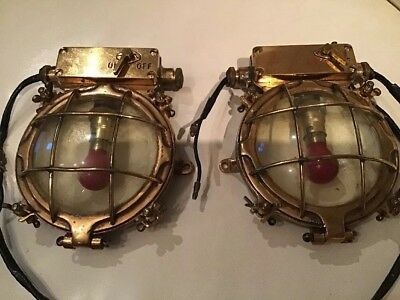 Pair Of Vintage Brass Nautical Lights Marine BMAC Ltd Boat Ship Search Lamp Spot