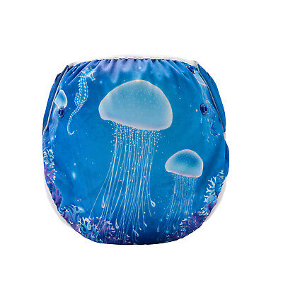 Swim Cloth Nappy - washable reuseable swimmer adjustable baby Funky Jellyfish