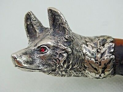 SUPER FINE QUALITY ANTIQUE WALKING CANE STICK SILVER FOX European sterling ruby