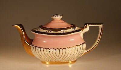 Vintage George Gibson Pink and Gold Queen Anne Style Square Teapot, England