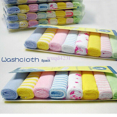 UK 8pcs Soft Cotton Baby Infant Newborn Bath Towels Washcloth Feeding Wipe Cloth