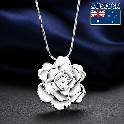 Classic Stunning Women Jewelry 925 Sterling Silver Filled Rose Flower Necklace