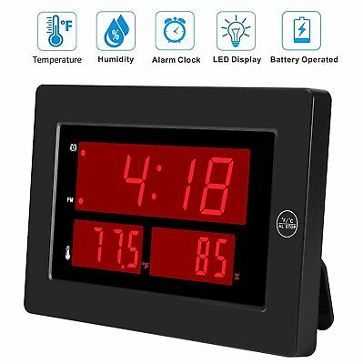 LED Digital Alarm Clock Battery Operated for Bedroom/Wall w Temperature Humidity